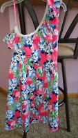 Girls Abercrombie Kids Off The Shoulder Dress Floral Pink Blue Size Medium 12