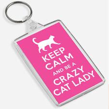 CRAZY CAT LADY Large Keyring & Bag Tag Pet Owner - Cat Lover