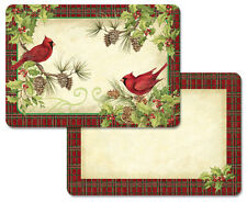 Cardinal Wreath Christmas Cardinals Reversible Plastic Placemat Set of 4