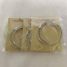 Set Of 3 Pairs Circle Silver Plated Hoop Earrings Costume Fashion Jewelry