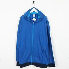 Vintage ADIDAS Shoulder Logo Zip Up Polyester Hoodie Sweatshirt Blue 2XL