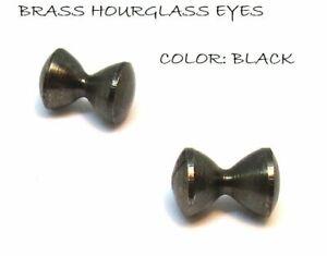 """Brass HOURGLASS eyes BLACK Dumbbell 2.5mm-6mm (3/32""""-1/4"""")"""