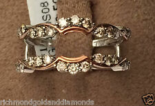 Solitaire Enhancer Round Champagne Diamonds Ring Guard Wrap 14k White Rose Gold