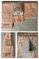 6pc Lot Vintage JcPenny Double Swag Seashells Shower Curtain Pink Bath Towel Set