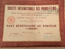Lot de 5 actions - Société Internationale des Phonos-Films  Paris 1928
