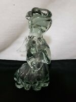"Beautiful Praying Angel Hand Blown Glass Figurine - Heavy Glass  Stands 8"" High"
