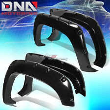 FOR 88-98 CHEVY/GMC C10 FENDER WHEEL FLARES KIT POCKET RIVET BLACK ABS PLASTIC