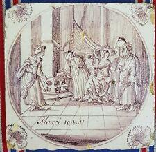 Antique 18thC.Dutch Delft Manganese Bible Biblical Religious Tile Carnation corn