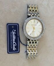 Montres Carlo Womens Crystal Watch Silver Dial Index Gold Hours Linked Band New!
