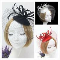 Women Fascinator Wedding Party Veil Feather Hair Clip Hat Mesh Net Handmade
