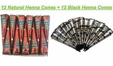 12 Natural Henna + 12 Black Color Instant Henna Cones Body Art Ink Tattoo Kit