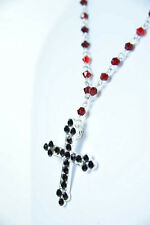 BLOOD RED STONE CROSS NECKLACE RELIGIOUS WEAR UNIQUE BRAND NEW CHRIST (SR1/b5)