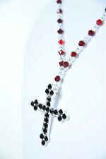 Sangre De Piedras Rojas Collar De Cruz Religioso Wear único Nuevo Cristo (sr1/b5)