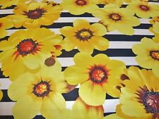 Cotone Stretch Jersey print-sunflower a Righe-Vestito Tessuto (Freee P&P solo Regno Unito)