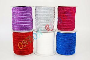 2METRES GLITTER SPARKLE VELVET RIBBON WITH COLOURS OPTIONS 10mm wide