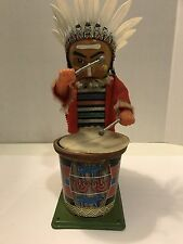 Vtg Nomura T N Japan Tin Toy Native American Indian Chief Drummer