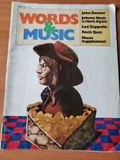 Words & Music Magazine John Denver Cover February 1973 Johnny Nash Led Zeppelin