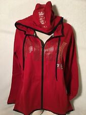 VICTORIA'S SECRET PINK GRAPHIC FLEECE HOODIE HIGH / LO FULL ZIP MEDIUM RED