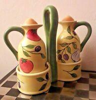 Vintage Rayware Ceramic Oil & Vinegar Bottles/Jugs on Ceramic Stand Holder