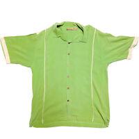 Bobby Chan Men's SILK Short Sleeve Button Down Bowling Shirt, Size XL Green