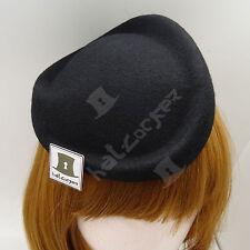 VINTAGE Wool Felt Ladies Fascinator Women Pillbox Hat Party NEW | Black | Twist