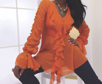 Ashro Lorena Ruffle Top Blouse Orange or Red 6 16W 18W PLUS