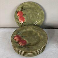 Mesa International Dinnerware Set Dinner Plates SET of 6 Green Apple Fruit Heavy