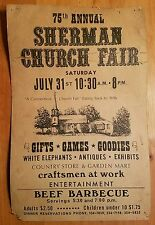 "●11"" BY 17"" ULTRA RARE●SHERMAN CT●75th ANNUAL CHURCH FAIRPOSYER●c1941●CT.HISTORY"