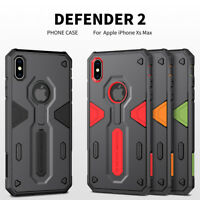 For Apple iPhone XS Max/XR Armor Defender Phone Case Cover+Clear Tempered Glass