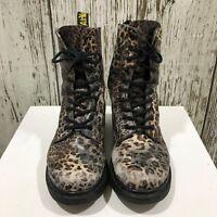 DR. MARTENS Brown Grey Leopard Print Leather Boots Lace Up Size EU 39 UK 6 25308
