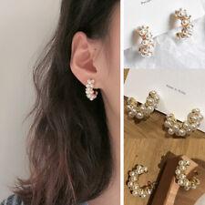 Fashion Vintage Hoop Earrings Simulated Pearl Semicircle Ear Stud Women Jewelry