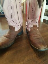 Justin Pink Brown Leather Stockman Western Cowboy Boots Women Sz 6 B Style Y2667