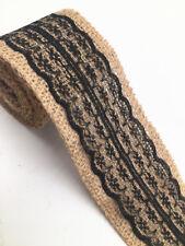2M Lace Burlap Ribbon Natural Jute Hessian Wedding Party width 6cm black