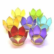 Beautiful Gift Set of 7 Chakra Colour Capiz Shell Lotus Tea Light Candle Holders