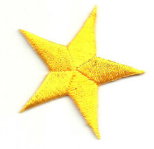 """( ONE DOZEN - 12 ) (7/8"""")(2.2cm) YELLOW EMBROIDERED STARS IRON ON PATCHES"""