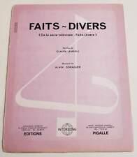 Partition vintage sheet music LEMESLE / GORAGUER : Faits-Divers * 70's Série TV
