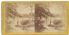 Purviance's PA Central RR Stereoview ca. 1870 * Duncannon Fishing at Dam #710