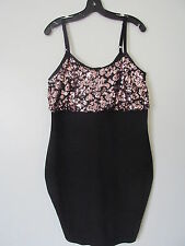 Torrid Black/Pink Sequin Spaghetti Strap Bodycon Knee-Length  Dress SZ:0 NWT