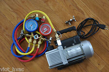 HVAC Tool Kit:2Stage Rotary Vacuum Pump+Manifold Gauge Set+Car Coupler R134a Tap