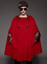Red wool blend Cape Hoodie COAT yj089 PLUS 4X (size 28-30)