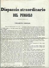 Dispaccio Straordinario Giornale Pungolo Cronaca Eletto Torino Bettino Ricasoli