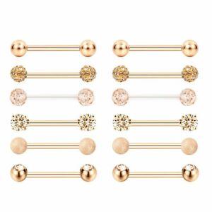 14G Nipple Rings Surgical Steel Tongue Ring Barbell Nipplerings Piercing 6Pairs
