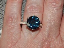 INDICOLITE QUARTZ AND DIAMOND RING IN SIZE O - 7.00 CARATS - WITH PLATINUM