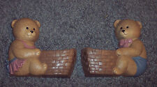 2 Teddy Bear Burwood 2947 Wall Pockets Baskets Child's Decor Plaques 1989 Homco