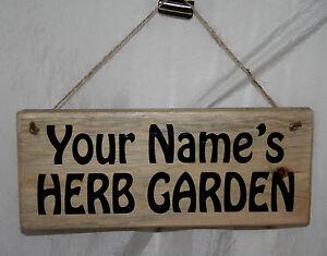Personalised Sign Plaque Garden Allotment HERB GARDEN Wood Home Veg Pots Hanging