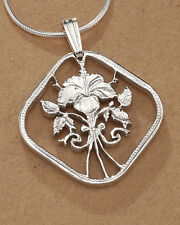 "Sterling Silver Flower Pendant , Hand Cut Hibiscus Coin, 1"" in Dia. , ( # 18S )"