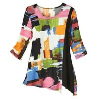 Women's Tunic Top - Colorful Cruise - Bold Geometric Pattern 3/4 Sleeve