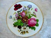 Collectible Plate - Floral Flowers/Daisy/Roses/Poppy/Petunia Ceramic w/Gold Band