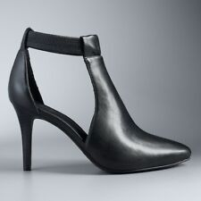 New Simply Vera Vera Wang Finch High Heel Ankle Boots Shoes Black Sz 10M