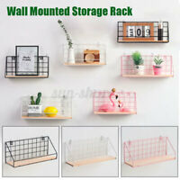 Metal & Wood Wall Shelf Shelves Hanging Rack Hook Industrial Modern Storage Home